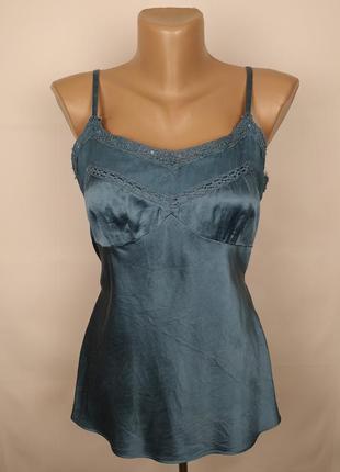 Блуза майка нежная шелковая с кружевом monsoon uk 12/40/m