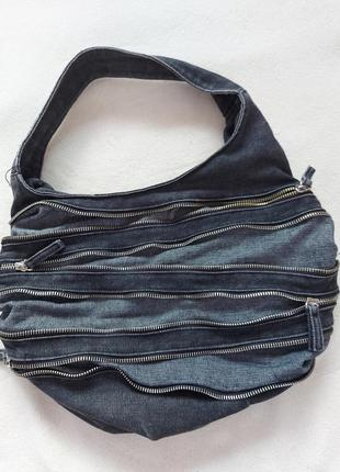 Сумка джинсовая с замочками