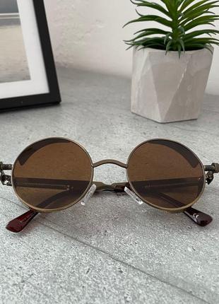 Коричневые овальные очки солнцезащитные очки круглые унисекс