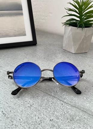 Синие овальные очки солнцезащитные очки круглые унисекс