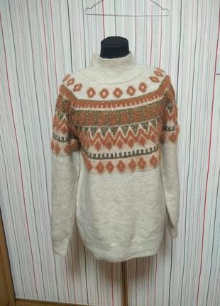 Теплый свитер полувер под горло,теплий світер овер сайз