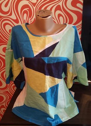 Стильная блуза,лен/хлопок,реглан,сзади пояс,легкая