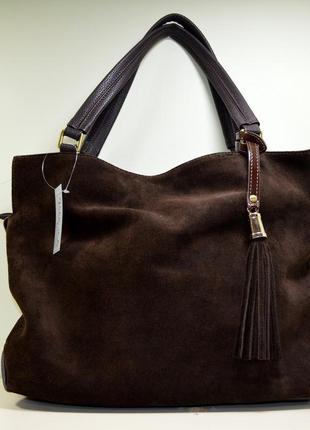 Большая модная коричневая замшевая сумка
