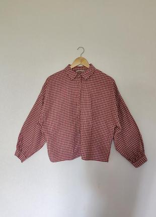 Клетчатая рубашка / в клетку pull&bear s-l oversize укороченая