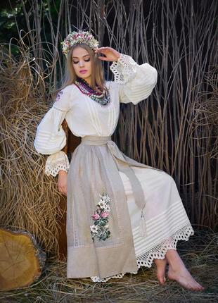 Женский костюм в этно-стиле с ручной вышивкой «белая лилия»