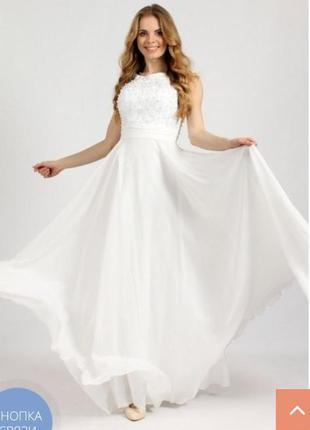 Вечернее свадебное платье с гипюровым лифом enigma