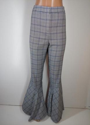Трендові брюки кльош висока посадка клітинка