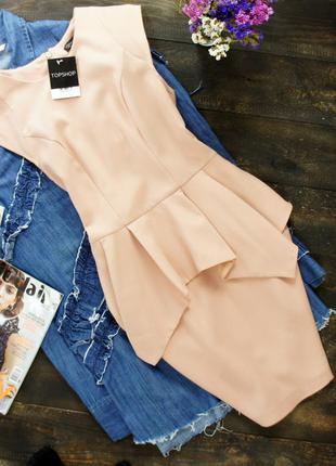 Новое платье-футляр с баской в расцветке nude topshop