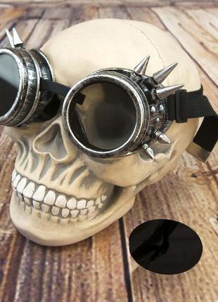 Очки стимпанк гогглы премиум с шипами серебряного цвета + подарок