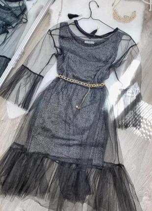 Стильное платье майка + накидка