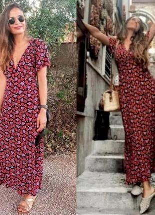 Zara миди платье в цветочный принт