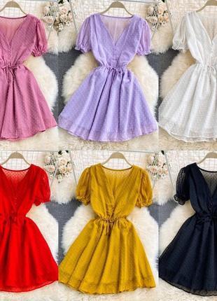 Летнее короткое шифоновое платье с вырезом с короткими рукавами с резиной на талии с м л 44 46 48 s m l
