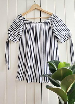 Полосатая блузочка с открытыми плечами, размер m-xl