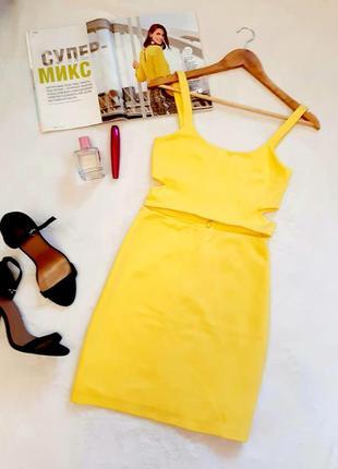 Трикотажне плаття zara жовтого кольору