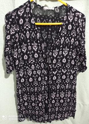 Летняя блуза оверсайз батал с короткими рукавами черная большая вискоза жатка тянется