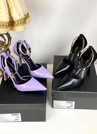Босоножки туфли женские кожаные черные сиреневые на каблуке брендовые люкс