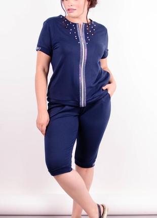Размер 58-60! стильный костюм со стразами и жемчужинами, синий, в размерах + большие!