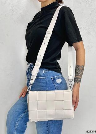 Кожаная сумка плетение белая
