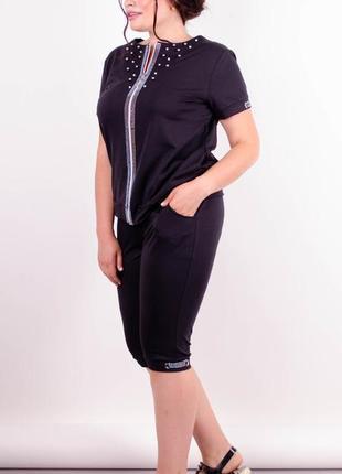 Размер 62-64! стильный костюм со стразами и жемчужинами, черный, в размерах + большие!