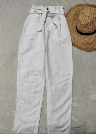 Тонкие брюки штаны с высокой посадкой и поясом лен вискоза