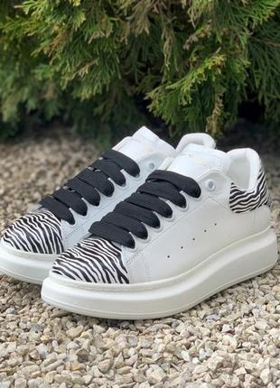 Кросівки alexander mcqueen oversized white/zebra кроссовки