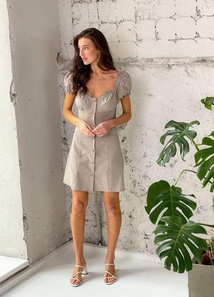Платье на пуговицах лен