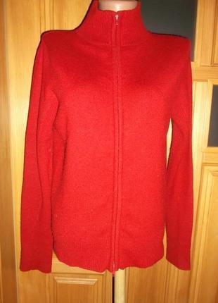Кофта  пуловер красный на змейке распродажа р. s - м - memo