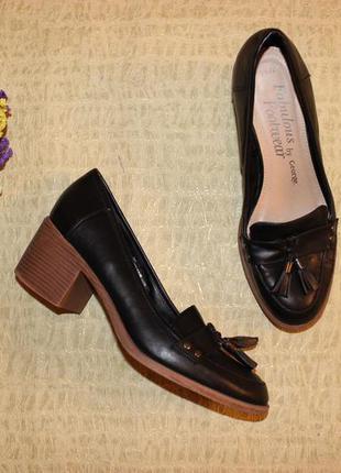 40 25,5см george туфли лоферы на массивном каблуке