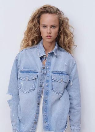 Джинсовая рубашка пиджак зара overshirt