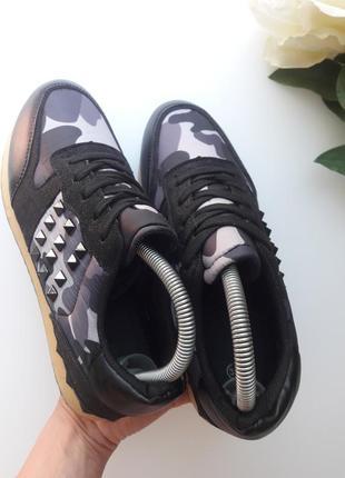 Комбинированные кроссовки  с камуфляжным принтом 😎5 фото