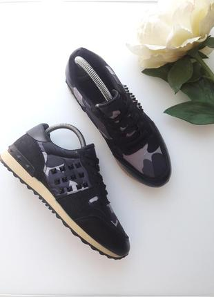 Комбинированные кроссовки  с камуфляжным принтом 😎1 фото