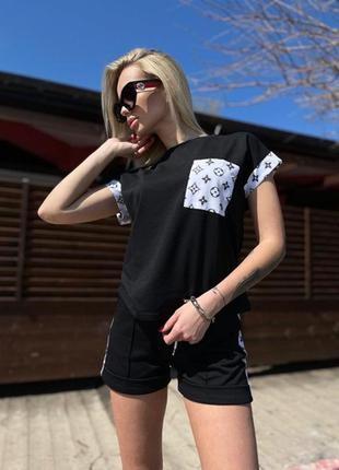 Костюм женский летний с шортами футболкой черный бежевый розовый2 фото