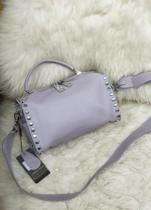 Женская кожаная сумка лаванда polina