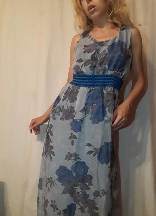Легкое летнее винтажное платье сарафан туника цветы