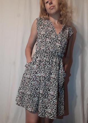 Винтажное платье сарафан в цветочек apricot
