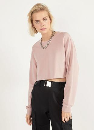 Свитшот bershka пыльно розовый короткий кофта лонгслив футболка бершка