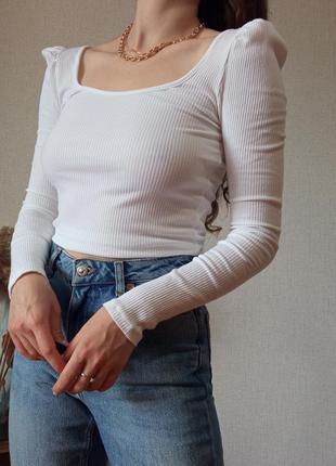 Білий базовий топ🤍 з довгими рукавами в рубчик від topshop розмір s,m