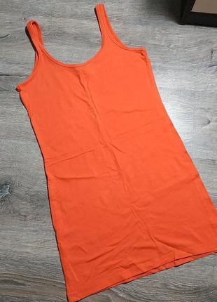 Майка удлиненная, сарафан ярко оранжевого цвета