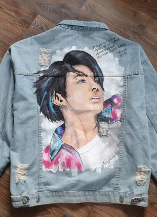 Джинсовка ручная роспись джинсовый пиджак оверсайз bts