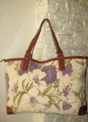 Новая (без бирки) шикарная женская сумка текстиль с кожаной отделкой кожа ткань