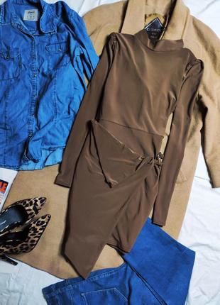 Boohoo платье коричневое шоколадное какао с открытой спиной длинный рукав с поясом