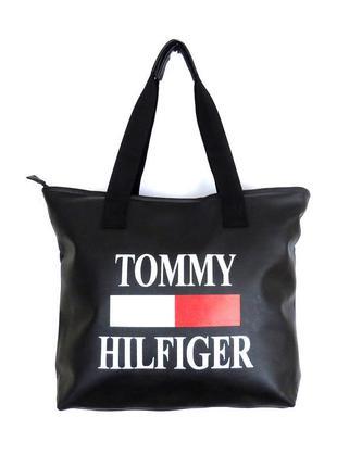 Стильная спортивная сумка из экокожи шоппер томми tommy hilfiger