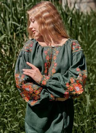 Льняная вышиванка в стиле бохо вишиванка вишита  сукня  вышитое льняное платье в стиле бохо