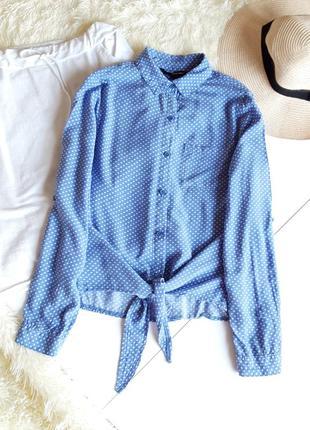 Блузка кофточка рубашка на завязках синий белый горох натуральная хлопок котон  zara h&m bershka levi's hilfiger tom tailor