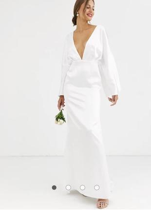 Атласное платье с рукавами-кимоно asos edition свадебное