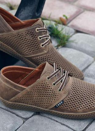 Кожаные мужские туфли  перфорация мокасины кеды
