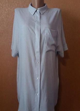 Платье рубашка в полоску короткий рукав свободного стиля оверсайз вискоза размер 8-10 bershka