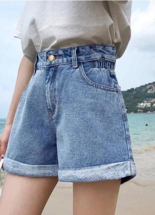 Модные джинсовые шорты с высокой посадкой1 фото