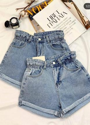 Модные джинсовые шорты с высокой посадкой4 фото
