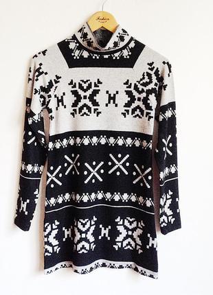 Платье орнамент снежинка зима черно серое